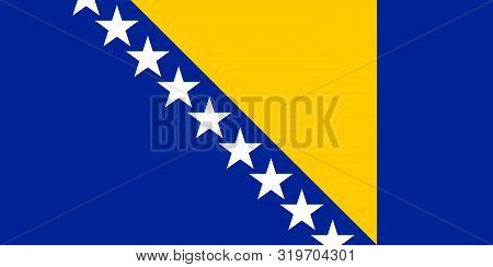 Flag Of Bosnia And Herzegovina Vector Illustration, Worlds Flags Collection