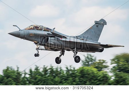 Fairford / United Kingdom - July 11, 2018: French Air Force Dassault Rafale B Fighter Jet Display At