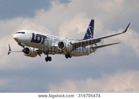 London / United Kingdom - July 14, 2018: Lot Polish Airlines Boeing 737-800 Max Sp-lvb Passenger Pla