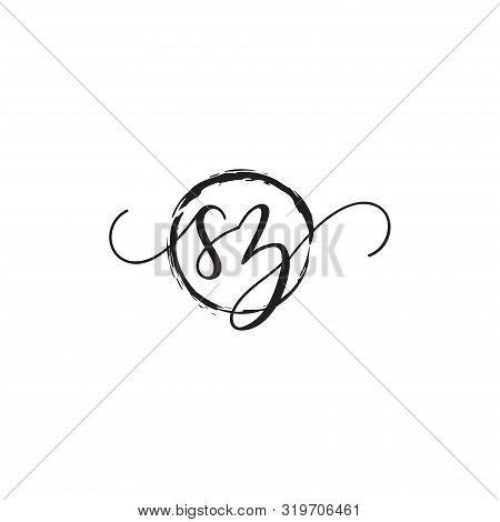 Sz Initial Handwriting Logo Vector,handwritten Logo For Fashion, Sz Initial Beauty Monogram Logo Wit