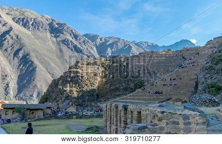 Sacred Valley, Peru - 05/21/2019:  Inca Site And Village At Ollantaytambo In The Sacred Valley Of Pe