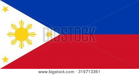 Flag Of The Philippines Vector Illustration, Worlds Flags Collection