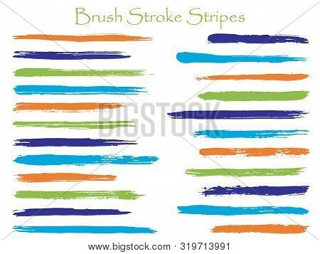 Abstract Orange Ink Brush Stroke Stripes Vector Set, Horizontal Marker Or Paintbrush Lines Patch. Ha