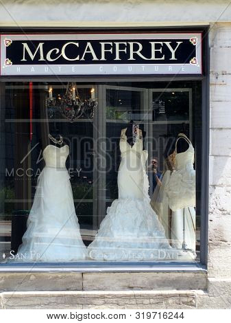 July 6, 2012, Ottawa, Canada, Store Front Window For Mccaffrey Haute Couture-wedding Gowns Bridal St