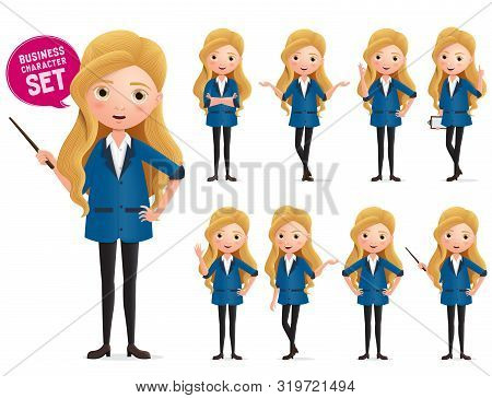 Business Woman Standing Vector Character Set. Business Characters Of Woman Wearing Professional  For