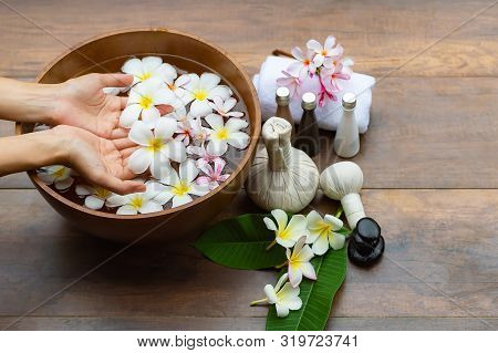 Spa Treatment And Product For  And Manicure Nails Spa With Pink Flower And Rock Stone, Copy Space, S