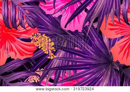 Pink Red Exotic Pattern. Monstera Leaves And Hibiscus Flowers In Summer Print.  Saturated Large Flor