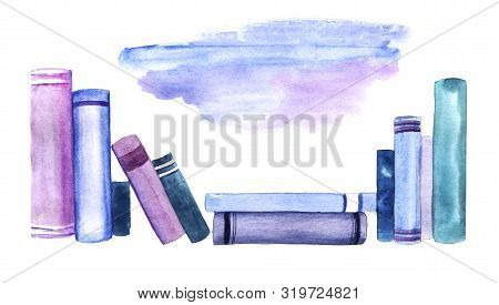 Scattered Spine Row Of Blue And Purple Books Isolated On White Background. Watercolor Abstract Image