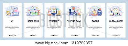 Mobile App Onboarding Screens. Online Computer Games, Strategy, Game Over, Winner, Console Controlle