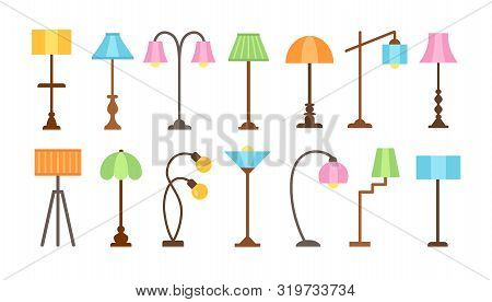 Modern Floor Lamps With Led Light Bulbs. Standing Lampshades. Accent Light Fixtures For Home. Vector