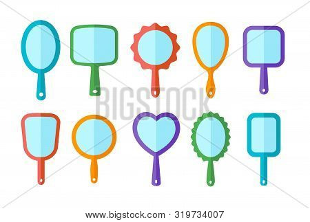 Hand Mirrors With Light Reflection. Blank Handheld Makeup Mirrors. Flat Icon Set. Female Beauty Acce
