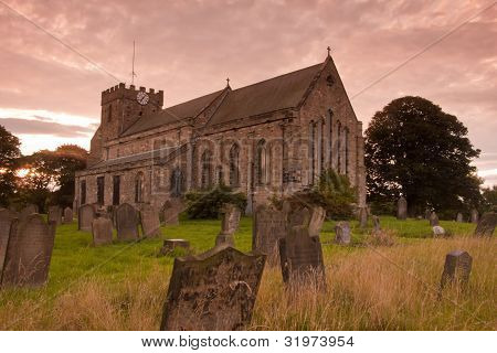 St. Mary's Church at sunset in the UK