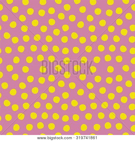 Seamless Polka Dots Pattern Purple Yellow Lime. Violet And Green Repeating Background With Big Polka