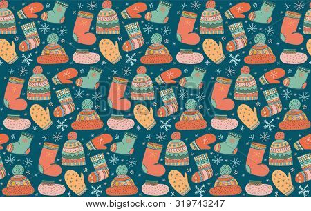 Cute Vector Seamless Pattern With Lots Of Winter Warm Clothes Icons. Hat With Pompom, Mittens, Socks