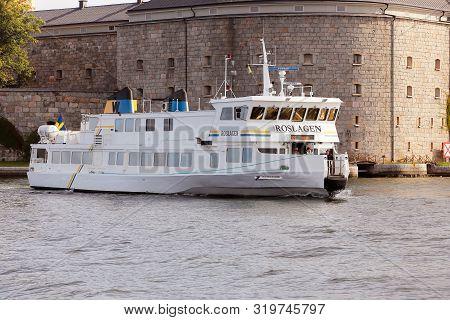 Vaxholm, Sweden - August 30, 2019: The Stockholm Archipelago  Public Transportation Boat Roslagen In