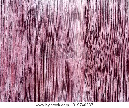 Old Wooden Texture Of Purple Color With Crack.  Wooden Painted Surface. Close Up Wood. Natural Fon.