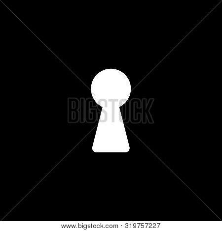 Dark Wall With Light From Keyhole. Keyhole Icon Or Sign On Black Background. Keyhole Flat Symbol. Ve