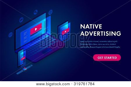 Native Advertising And Programmatic Targeting Marketing. Cross-device And Multi Target Audience Ads