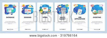 Mobile App Onboarding Screens. Overtime Hours, Office Work Place, Waste Bin, Cloud Storage Database.