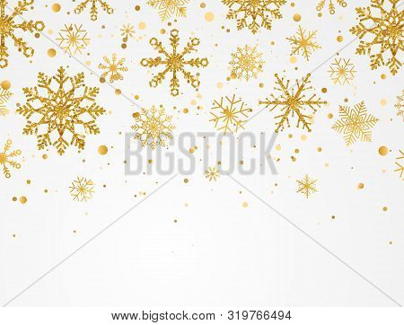 Gold Snowflakes Falling On White Background. Golden Snowflakes Border With Different Ornaments. Luxu