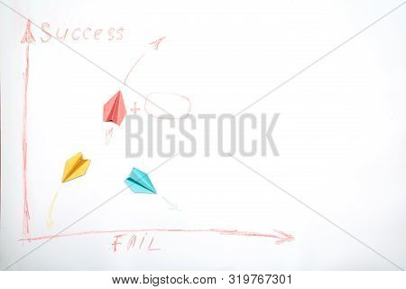 Business success and fail concept. Solution, rivalry and challenge. Colorful paper planes on a white background. poster