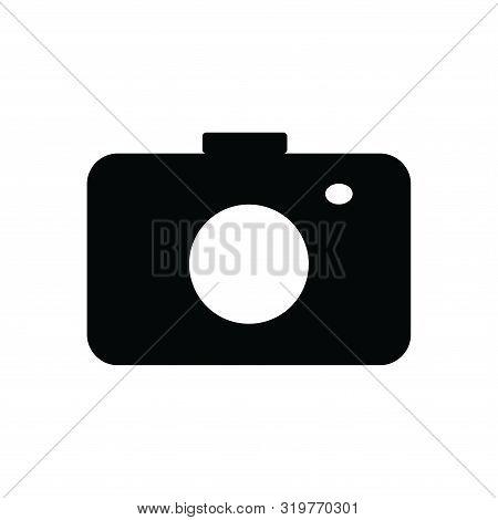 Photo Camera Icon Isolated Black On White Background, Camera Icon Vector Flat Modern, Camera Icon, C