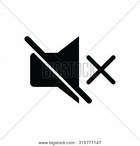 Sound Off Icon Isolated Black On White Background, Sound Icon Vector Flat Modern, Disable Sound Icon