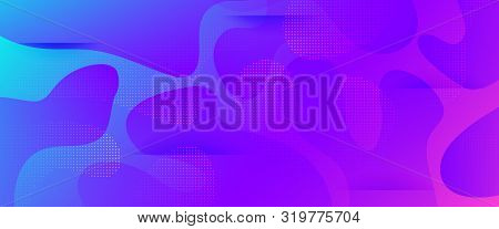 Purple Abstract Shapes. Geometric Background. Minimal Pattern. Neon Dynamic Waves. Abstract Poster.