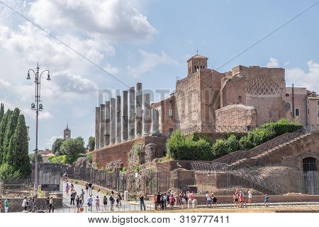 Rome, Italy - July 14: Temple Of Venus And Roma On July 14, 2019. The Temple Of Venus And Roma Have