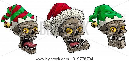 Cartoon Detailed Realistic Colorful Scary Human Skulls In Holiday Winter Santa And Elf Hat. Isolated