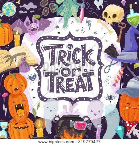 Halloween Cartoon Illustration. Halloween Party Frame Illustration Trick Or Treat Slogan Pumpkin Lan