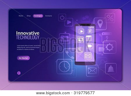 Isometric Multimedia Icons Landig Page. Social Media Isometric Icons Flying Out Of The Phone On A Da