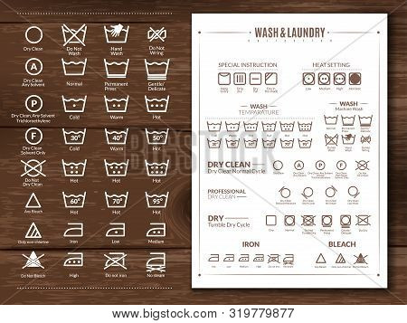 Laundry Flat Icons Illustration. Laundry Flat Icons Illustration On Wooden Background White Signs On