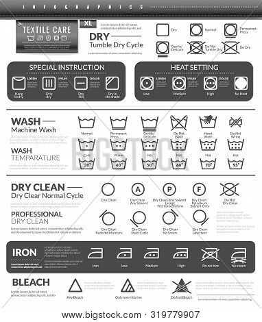 Laundry Flat Icons Infographics. Infographics On The Topic Of Clothing Care And Washing On White Bac