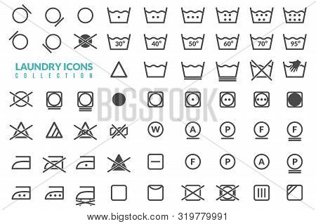 Laundry Flat Icons Set. Large Set Of Linear Icons On The Theme Of Washing Care Of Textiles Graphics