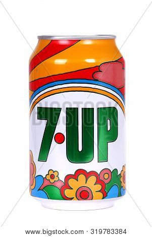 Novyy Urengoy, Russia - August 30, 2019: Aluminium Can Of The 7up 1970s Edition Isolated Over White