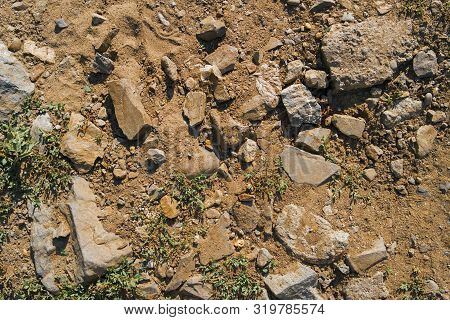 Dry Soil Texture And Background. Green Grass. Red Soil Background. Abstract Ground. Natural Abstract