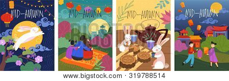 Setset Of Four Colorful Cartoon Mid-autumn Poster Designs Depicting A Leaping Rabbit, Bunnies Tea Pa