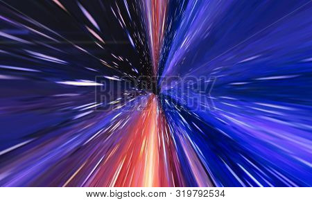 Interstellar, Time Travel And Hyper Jump In Space. Flying Through Wormhole Tunnel Or Abstract Energy