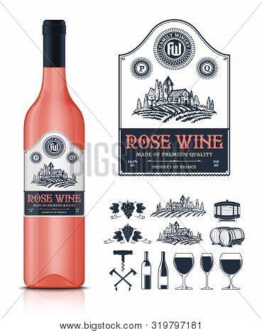 Vector Vintage Rose Wine Label And Wine Bottle Mockup