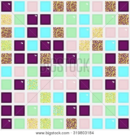 Colorful seamless pattern with square elements. Repetitive abstract pattern with colored and glittery tiles. Vector illustration for your graphic design. poster