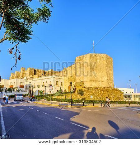 Tarifa, Spain - June 27, 2019. Guzman El Bueno Castle. View From Plaza Miramar Square. Tarifa Downto