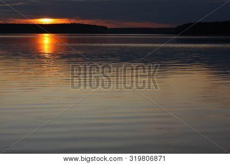 Landscape Picturesque Sunset Over The River Quiet Autumn Evening