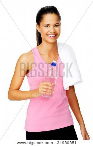 Healthy hispanic lation woman with gym towel and water bottle isolated on white