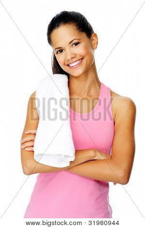 gesund Fit Frau mit Fitness-Studio Handtuch steht mit Vertrauen und lächelt, isolated on white