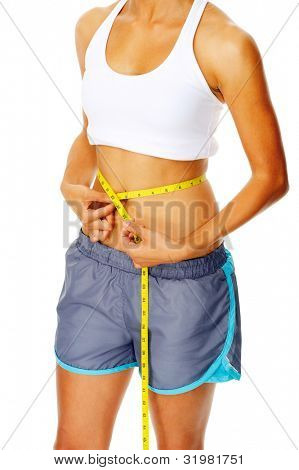 Hispanic woman measuring the circumference of her waist, a weightloss concept poster