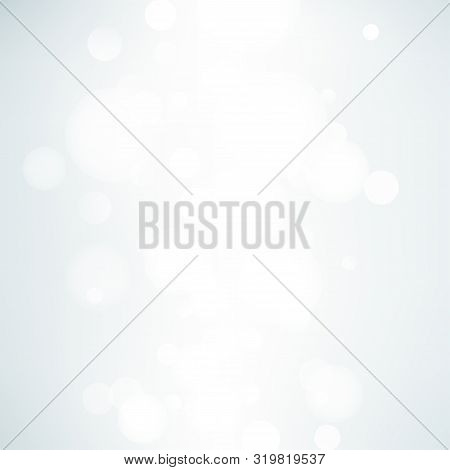Abstract Neutral Background With Bokeh Effect. Light Grey Abstract Backdrop With White Particles. Ve