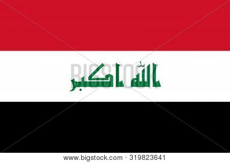 Flag Of Iraq Vector Illustration, Worlds Flags Collection