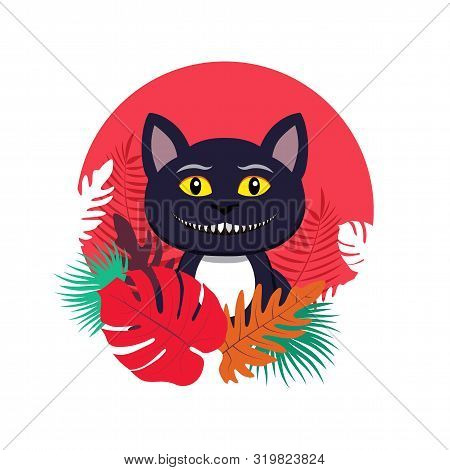 Vector Illustration Of Cat, Which Have A Smile Like A Cheshire Cat. Bright Circle Frame With Colorfu