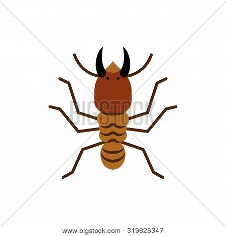 Termite Single Flat Icon. Insect Simple Sign In Cartoon Style. Wildlife Pictogram Symbol. Entomology